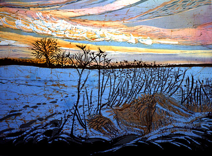 The final piece shows bright blue snow field and oranges in the sky with a dark foreground and vegetation.